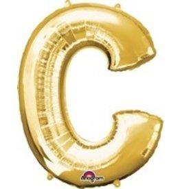 Gold Letter C Mylar Balloon