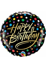 "Birthday Gold Script & Dots 18"" Mylar Balloon"