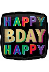 "Happy Birthday Offset Letters 18"" Mylar Balloon"