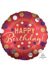 "Red Satin Happy Birthday 18"" Mylar Balloon"