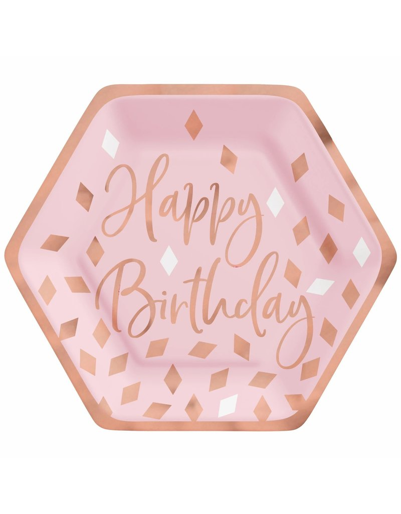 "Blush Birthday 7"" Hexagon Plate Metallic (8)"