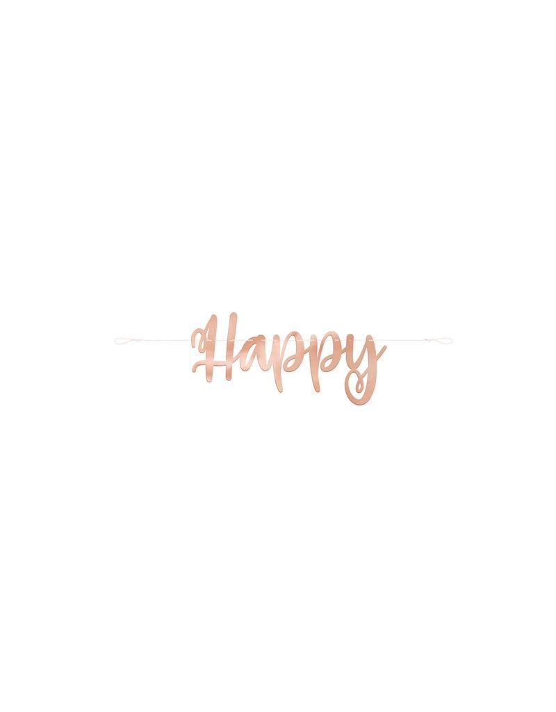 Rose Gold Happy Birthday Script Banner