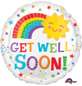 "Get Well Happy Sun 18"" Mylar Balloon"