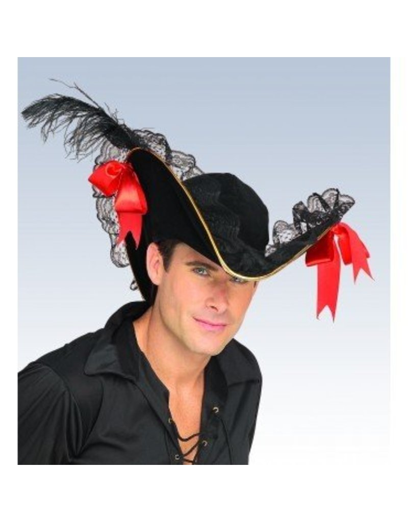 Black with Red Bow Buccaneer Hat