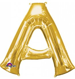Gold Letter A Mylar Balloon
