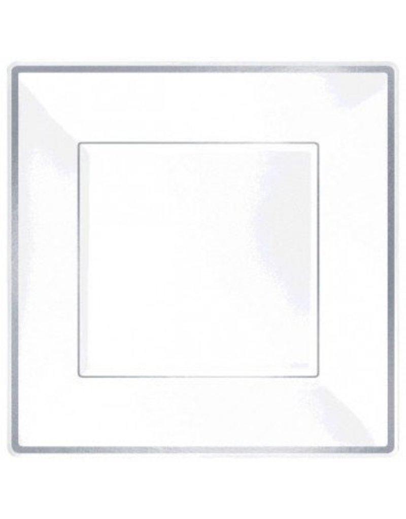 Square Plastic Plate White w/Silver Trim, 7 (8)