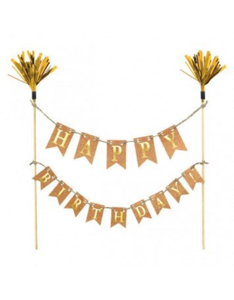 Cake Picks Gold Happy Birthday