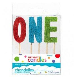 """""""O-N-E"""" Glitter Candles"""