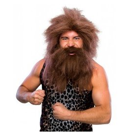 Pre-historic Beard and Brown Wig