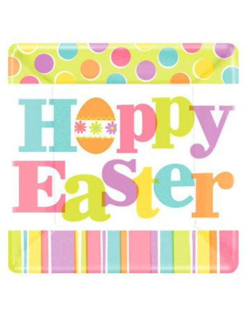 """Easter Expressions Square Plates 7"""""""