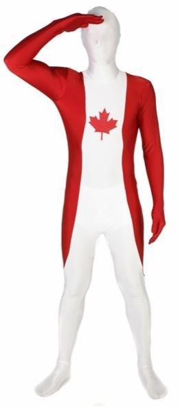 Adult Costume Morphsuit Canada Flag Medium
