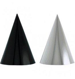 Black & White Foil Cone Party Hats
