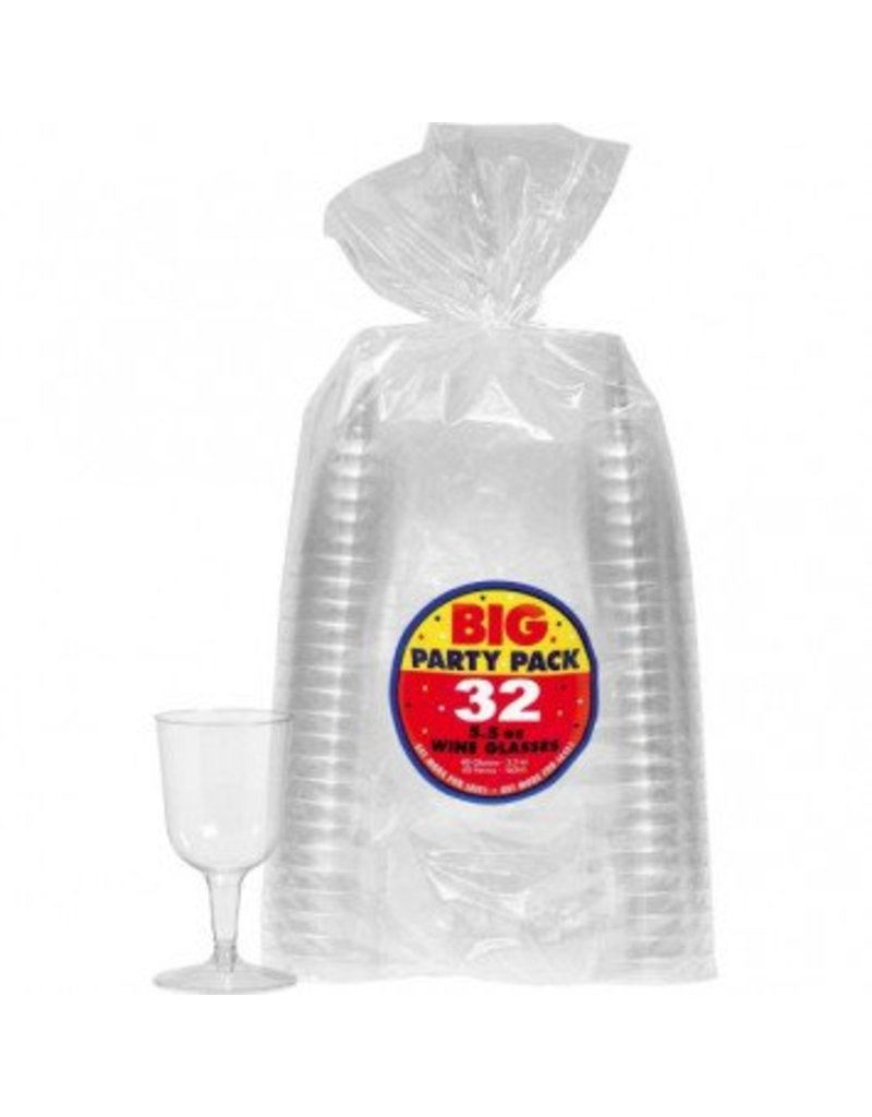 Big Party Pack Clear Plastic Wine Glasses, 5 1/2oz. (32)