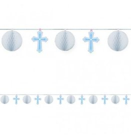 Sweet Christening Blue Paper Honeycomb Trimmer