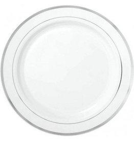 "White Premium Plastic Round Plates with Silver Trim 10 1/4"" (10)"