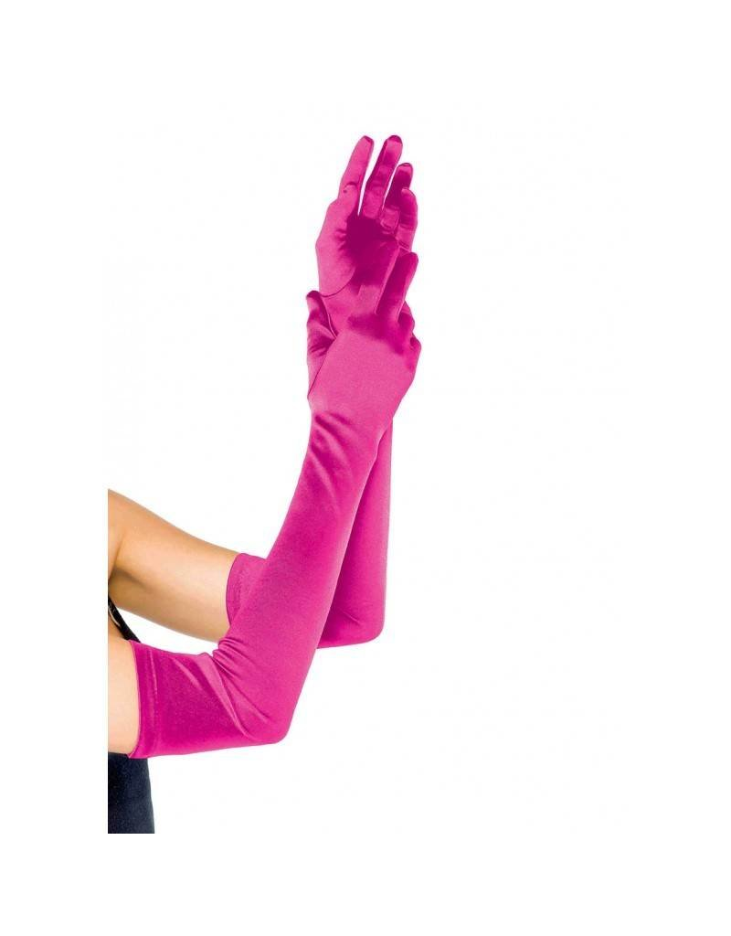 Hot Pink Extra Long Satin Gloves