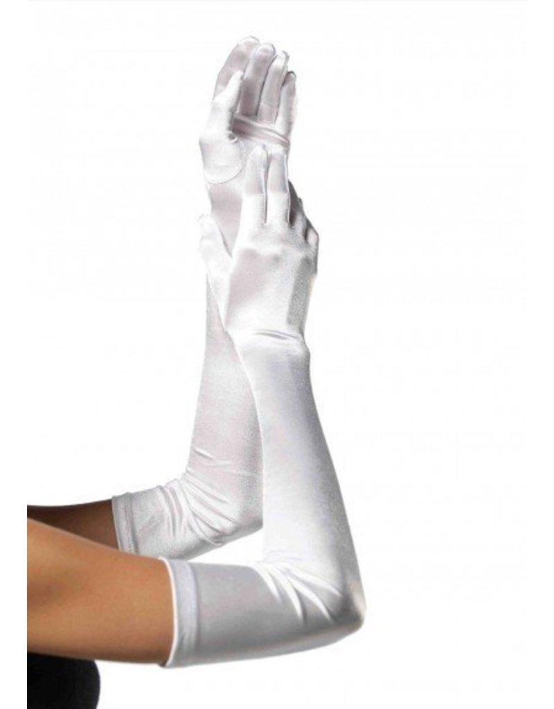 White Extra Long Satin Gloves