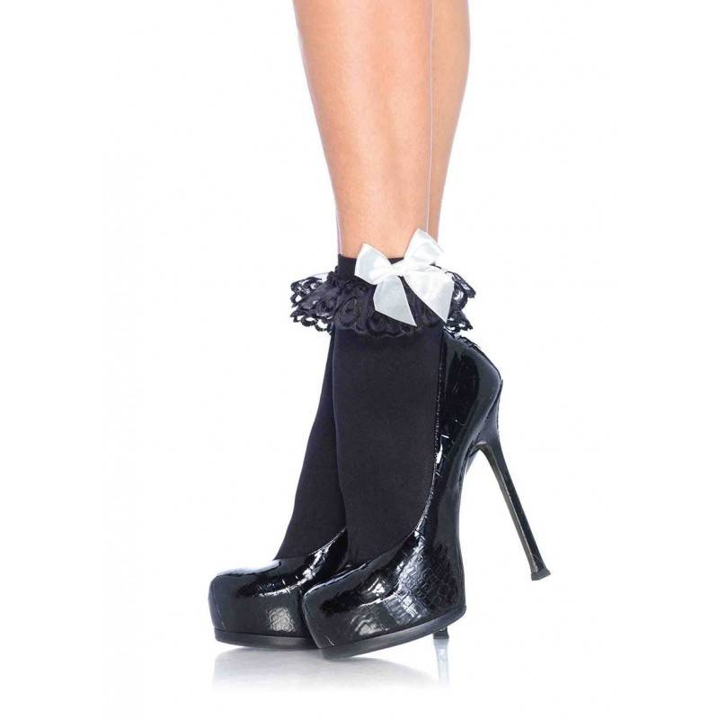 Black & White Ruffle Socks with Satin Bow Anklet