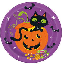 "Cat & Pumpkin 9"" Plates"