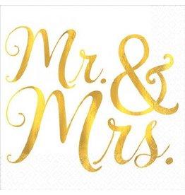 Mr. & Mrs. Hot Stamp Beverage Napkins