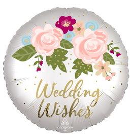"Wedding Wish Floral 18"" Mylar Balloon"