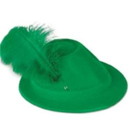 Green Velour Alpine Hat with Green Feather