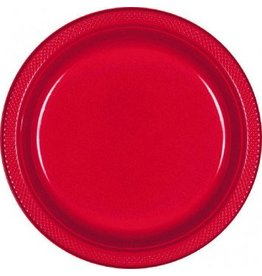 "Apple Red 9"" Plastic Plate (20)"