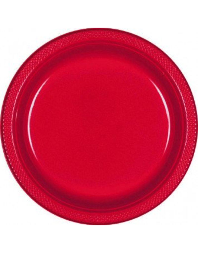 "Apple Red 9"" Plastic Plate (20)"