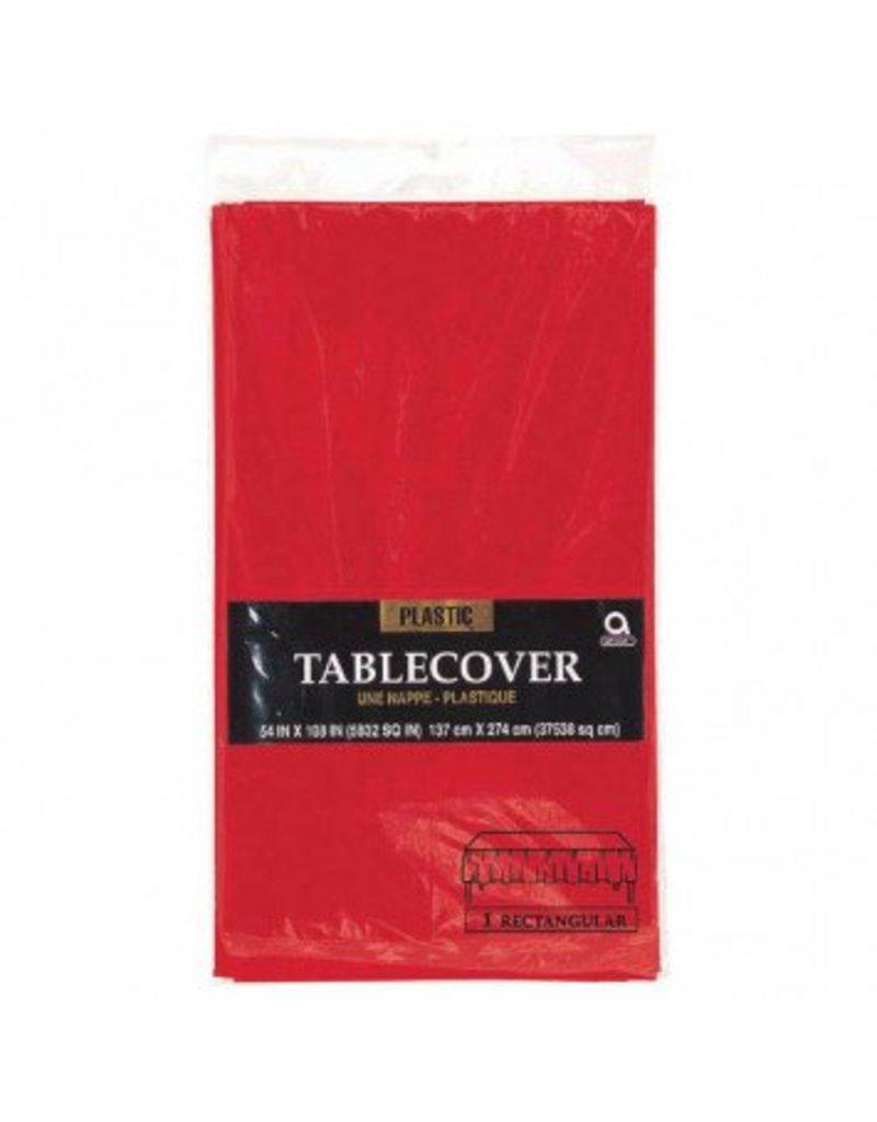 Apple Red Rectangular Plastic Tablecover