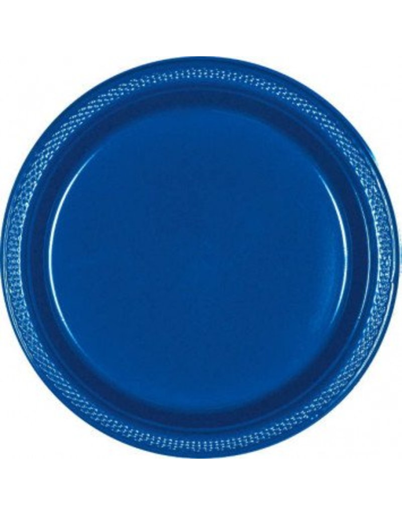 "Bright Royal Blue 7"" Plastic Plate (20)"