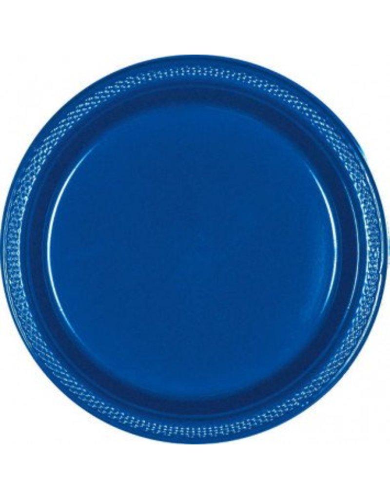 "Bright Royal Blue 9"" Plastic Plate (20)"