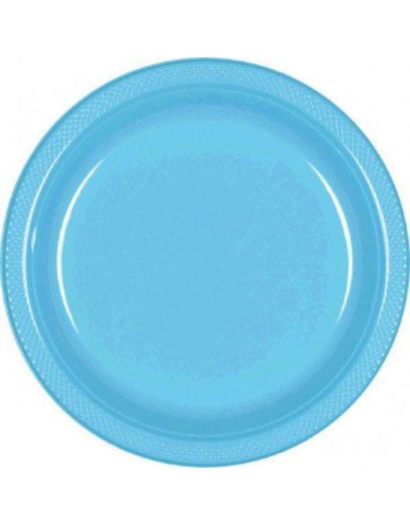 "Caribbean Blue 7"" Plastic Plate (20)"