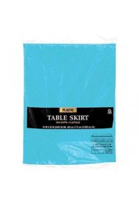 Caribbean Blue Solid Color Plastic Table Skirt