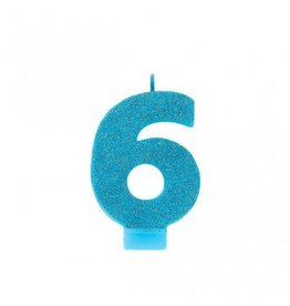 #6 Glitter Candle Caribbean Blue