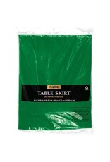Festive Green Solid Color Plastic Table Skirt
