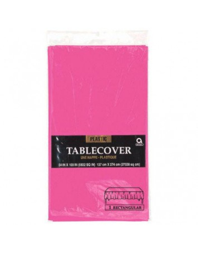 Bright Pink Rectangular Plastic Tablecover