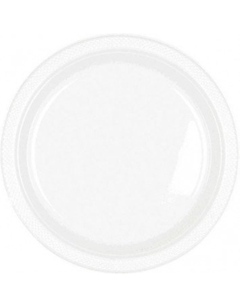 """Frosty White 9"""" Plastic Plate (20)"""