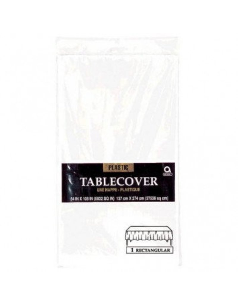 Frosty White Plastic Tablecover