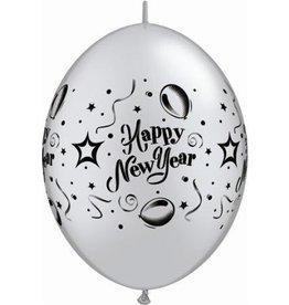 """11"""" Silver New Years Party Quicklink Balloon 1 Dozen Flat"""