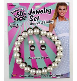 50's Pearl Necklace & Earrings