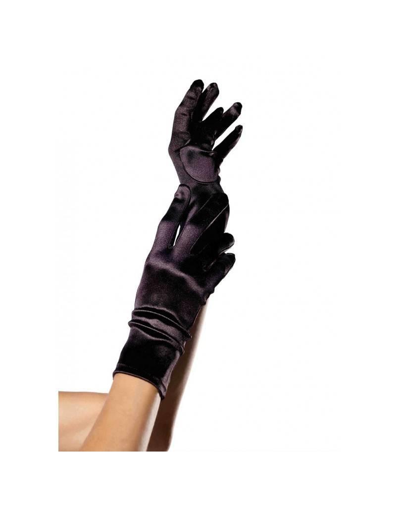 Black Satin Wrist Length Gloves