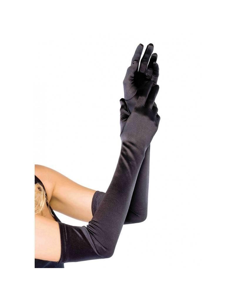 Black Extra Long Satin Gloves