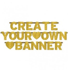 Banner Customizable Gold Glitter