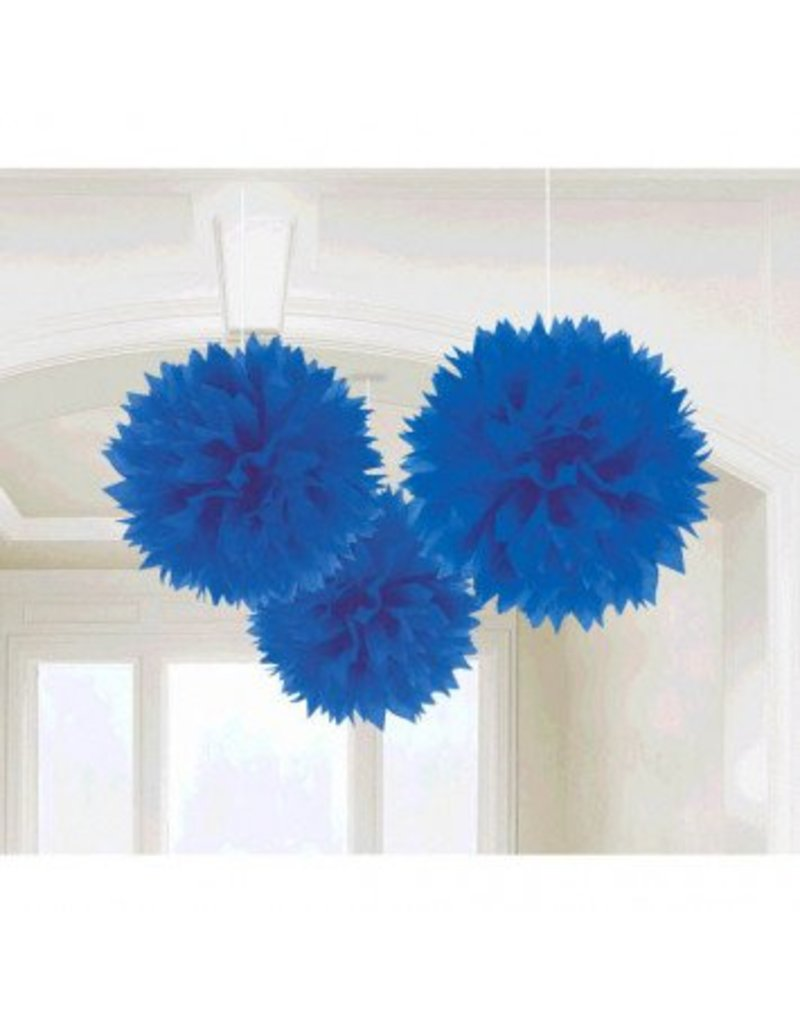 Bright Royal Blue Fluffy Paper Decorations (3)