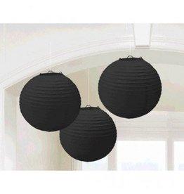 Jet Black Round Paper Lanterns