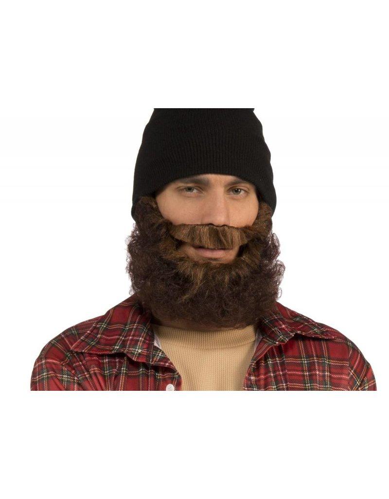 Curly Black Beard W/Moustache