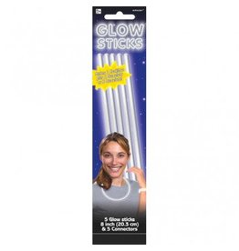 "White, 8"" Glow Sticks (5)"
