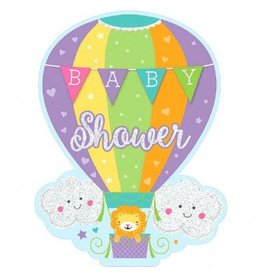 Baby Shower Hot Air Balloon, Jumbo Deluxe Invites - Neutral (8)