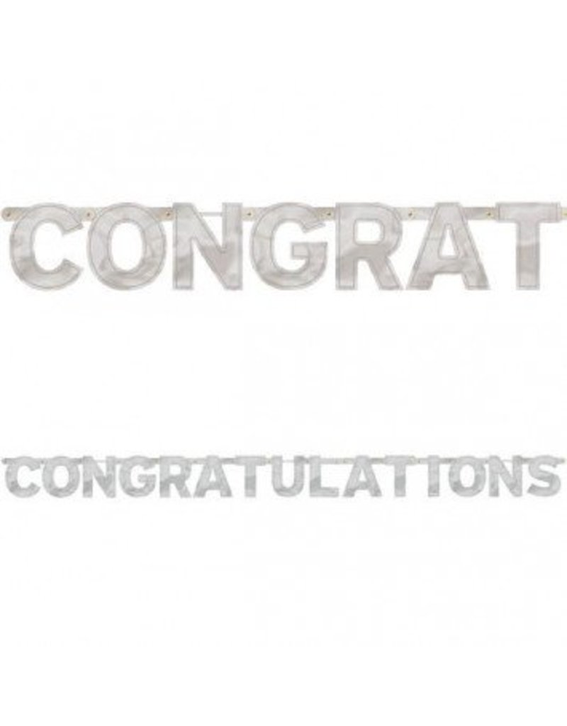 Congratulations Silver Jumbo Letter Banner