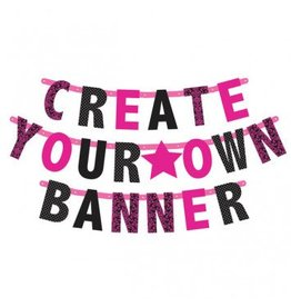 Letter Banner Customizable Pink/Black